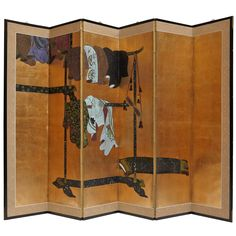 Six Panels Japanese Screen Asian Furniture, Art Furniture, Painted Furniture, Japanese Screen, Japanese Art, Chinese Patterns, Figure Painting, Traditional Art, Asian Art