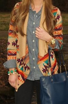Aztec cardigan over a long sleeve button up, dark skinnys, perfect for work/casual