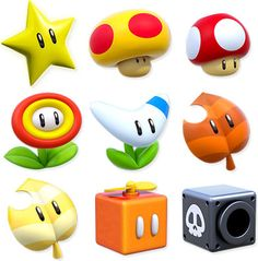 Super Mario 3D World Power Ups! Super Star: Total Invincibility (For a short time) Mega Mushroom: Mega-Sized Mario Super Mushroom: Super Version Fire Flower: Shoot Fireballs Boomerang Flower: Start Tossing Boomerangs Super Leaf: Turn into a Tanooki to Float and Spin your tail Invincible Super Leaf: Invincible Tanooki Suit Propeller Box: Fly up to hard-to-reach spots Cannon Box: Shoot Cannonballs Bell: Turn into a Cat