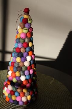 Felt ball happy tree, Original modern Christmas tree on Etsy, $60.00