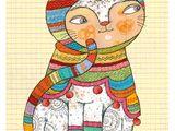 """Glückwünsche - Postkarten-Set """"Dicke, chice Katze"""" -... - ein Designerstück von selda bei DaWanda"""