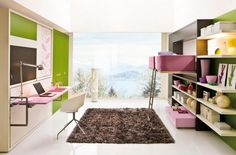 Bedroom, Glass Wall White Celling Pink Desk Chest Of Drawer Scenic Kid Room Brown Fur Rug Violet Pillow Bed Green Clothes Closet Porcelain Floor Stainless Steel Armchair And Chrome Table Lamp ~ Wonderful Transformable Furniture in a Kids Room to Save Space