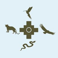 The four power animals Zodiac Wheel, Earth Spirit, Power Animal, Visionary Art, Chicano, Blackwork, Mystic, Native American, Runes