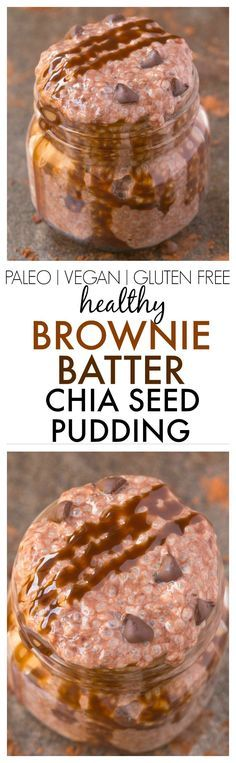 Healthy Brownie Batter Chia Seed Pudding- Thick, creamy, and just like dessert, this quick and easy recipe is high protein and sugar free! {vegan, gluten free, paleo recipe}- thebigmansworld.com