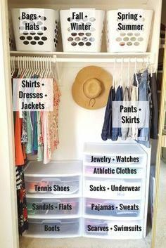 Schlafzimmer Schrank Ideen - Organize a Small Closet on a Budget in Only 5 Simple Steps! Dorm Room Organization, Organization Hacks, Organizing Ideas, Organizing Small Closets, Clothing Organization, Clothes Storage Ideas For Small Spaces, College Closet Organization, Small Bedroom Ideas On A Budget, Wardrobe Organisation