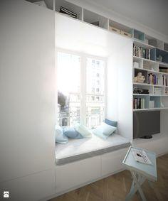 Kawalerka 22m2 - Warszawa, ul.Piękna - Salon, styl minimalistyczny - zdjęcie od Studio Monocco: ława przy oknie