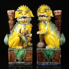 Pr. Chinese Carved Porcelain Foo Dogs