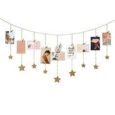 Mkono Hanging Photo Display Wood Stars Garland with Chains Picture Frame Collage with 30 Wood Clips Wall Art Decoration for Home Office Nursery Room Dorm New Year Holiday Card Display,Gold - Best Seller List Diy Wall Decor For Bedroom, Cute Room Decor, Wall Art Decor, Kids Wall Decor, Photo Wall Hanging, Hanging Photos, Exposition Photo, Star Garland, Photo Garland