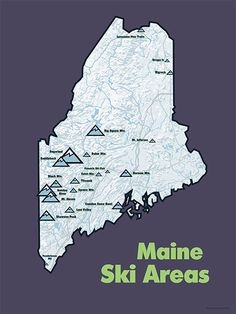 This heavyweight poster is a comprehensive map of lift-served skiing in Maine- including everything from big resorts to municipal ski hills. The stylized, shaded relief map also depicts major rivers a