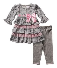 Another great find on #zulily! Gray & Pink Tunic & Leggings - Infant & Toddler by Youngland #zulilyfinds