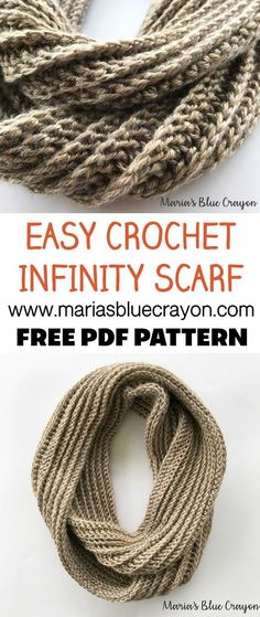 Get the free pattern for an easy crochet infinity scarf using worsted weight yarn. Free crochet pattern on Maria's Blue Crayon blog. #crochet #scarf #worstedweight #pattern #free #easy #freepattern #crochetscarf #infinityscarf Crochet Infinity Scarf Pattern, Crochet Scarf Easy, Crochet Simple, Crochet Scarves, Crochet Shawl, Knitting Scarves, Crochet Infinity Scarves, Infinity Scarf Patterns, Crochet Clothes