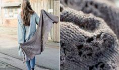 Her får du en gratis opskrift på et smukt strikket sjal i asymmetriske baner.