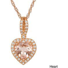 Gioelli Rose Gold/ Silver Simulated Morganite and Created Sapphire... ($67) ❤ liked on Polyvore featuring jewelry, necklaces, champagne, long pendant necklace, long necklace, silver necklace, chain necklaces and rope chain necklace