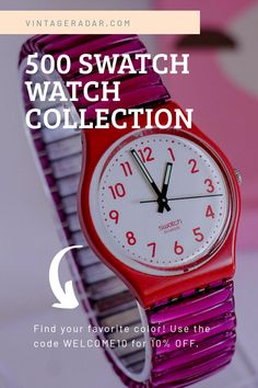 Vintage Colors, Vintage Pink, Grunge Fashion, Retro Fashion, Vintage Swatch Watch, Swiss Made Watches, Swiss Watch, Vintage Models, Luxury Watches For Men