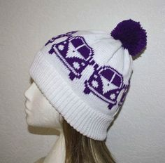 Beanie Hat with VW Kombi Bus Camper Vans in a choice by lemarousse, €12.50