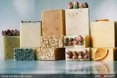 Decorating soaps with dried fruits, flowers and oatmeal..