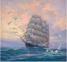 Triple-masted Sailing Ship by Anton Otto Fischer
