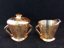 Vintage Marigold Carnival Glass Sugar Bowl with Lid & Creamer Set