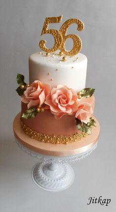 Narozeninový S Růžemi V Lososové on Cake Central
