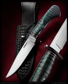 maker: Bobby Wetten JS The blade is forged from 1084 (Aldo Bruno) The handle is dyed & stabilized extreme curly maple The guard & spacers are black G-10 with hand filed nickel silver The sheath was hand stitched by my Father-in Law Paul Wittle  #calebroyerphotography #knife #knifemaking #knives #customknives #handmadeknives #knifecommunity #handmade #knifeart #knifepics #imagecalebroyer #BobbyWetten #sheath #hamon #leather