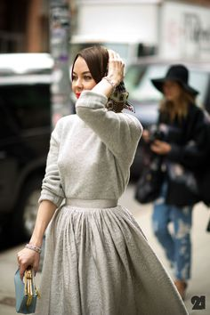 Grey on grey dress and sweater. Really lovely!