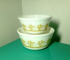 TWO Hazel Atlas Milk Glass Mixing Bowls with by BeppieandEido
