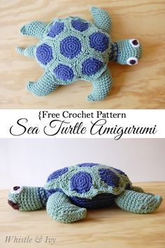 Free Crochet Pattern - Sea Turtle Amigurumi {Whistle and Ivy} ༺✿ƬⱤღ  http://www.pinterest.com/teretegui/✿༻