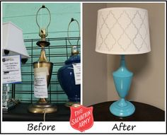Project Thrifty Office - The Salvation Army of Coastal Alabama Office Lamp, Office Lighting, Lighting Ideas, Lamp Makeover, Furniture Makeover, Repurposed Furniture, Painted Furniture, Spray Paint Crafts, Traditional Dressers