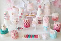 "this is the second All About Cake ""dessert"" table I have seen today... seems to be the beginning of a new trend ... all little work-of-art cakes! ♥"