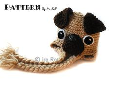 A PUG HAT!!!  <3<3<3  LOVE!  The Pugfect Pug Hat  Crochet PDF by Fashion Patterns