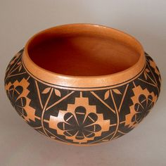 Mark Wayne Garcia. Santo Domingo Pueblo potter since the 1990s. Black-on-red jar. Rosettes and leaves with stepped diamonds.