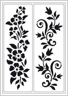 """Stencil """"Summer meadow"""" self-adhesive, stencil, flowers Steel Gate Design, Door Gate Design, Stencil Patterns, Stencil Designs, Jaali Design, Plasma Cutter Art, Cnc Cutting Design, Adhesive Stencils, Fabric Paint Designs"""