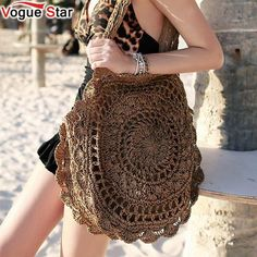 2019 Bohemian Straw Bags for Women Big Circle Beach Handbags Summer Vintage Rattan Bag Handmade Kintted Travel Bags clothes for women boho chic Crochet Handbags, Crochet Purses, Crochet Bags, Crochet Dresses, Crochet Clothes, Straw Handbags, Purses And Handbags, Boho Chique, Crochet Shell Stitch