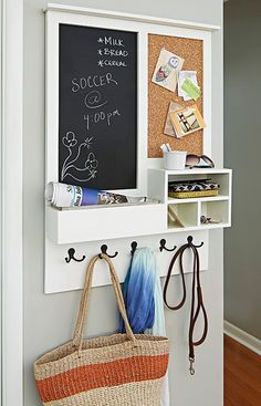 Keep your family organized with this entry message center. This clever project acts as a mail drop, key holder, and versatile message center that includes a chalkboard and cork board. Customize to suit your needs by adding two chalkboards or corkboards, replacing one or the other with an inset mirror, or installing outlets for phone chargers.:
