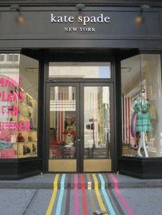 These colourful stripes lead shoppers inside the Kate Spade New York. #retail #floor #graphics