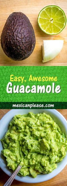 Who knew guacamole could be so easy?  All you really need is avocado, onion, lime and salt -- so simple and yet so delicious!  #guacamole mexicanplease.com