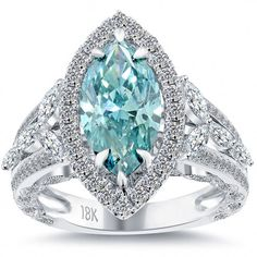 4.10 Carat Fancy Blue Marquise Cut Diamond Engagement Ring 18k Vintage Style