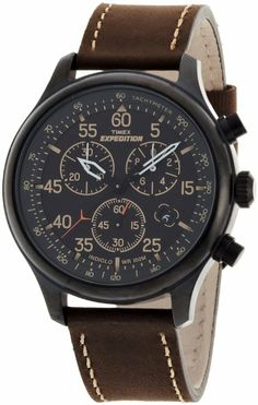 Timex Men?s T49905 Expedition Rugged Field Chronograph Black Dial Brown Leather Strap Watch: Watches: Amazon.com for Fathers?