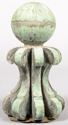 Weathered Copper Building Finial.  Love this finish for garden items.