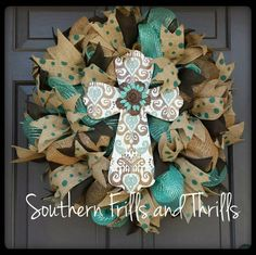 Deco Mesh and Burlap Wreath with Cross available at SouthernThrills on etsy $68