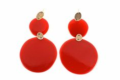 Ela Bauer Earrings Colour, Red/Red polyurethane, silver