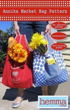 Make your own roomy, reversible shopping bag that folds up into its own pocket for easy storage. Can be made with 7 fat fabric quarters or