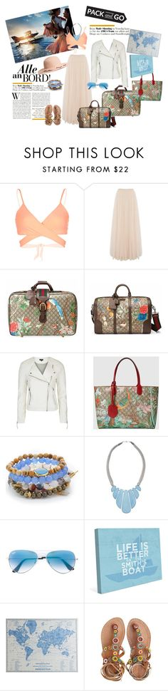 """""""Pack and go"""" by vittorio-1 ❤ liked on Polyvore featuring L*Space, Needle & Thread, Gucci, Topshop, Lacey Ryan, John Lewis, Ray-Ban, Pier 1 Imports and Laidback London"""