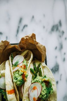 Roasted Spring Vegetable + Quinoa Tacos w/ Dill-y Guacamole by thefirstmess: Rice, lentils, beans or any other grain you like could fill in for the quinoa. #Tacos #Spring_Veggies #Healthy