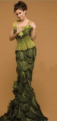 Vegetable evening gown...ME: she should have joined Gaga for a complete meal!  - the main accessory for this dress is a watering can