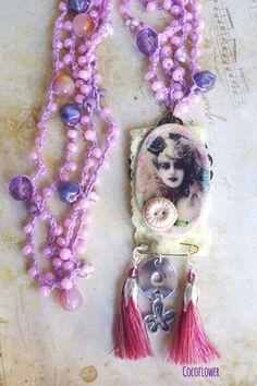 bijoux vintage, collier sautoir femme, bijou crochet, sautoir rétro : Collier par cocoflower