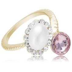 So pretty... The braided look of the band seems so romantic.   Pink and Pearl CZ Rose-Gold Tone Braided Band Fashion Ring
