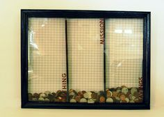 Framed money bank. So awesome. I would section it off spend, save, donate.