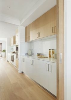 Butler's Pantry - Santorini - White & Bright kitchen with blonde wood and butlers pantry.