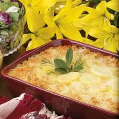 Creamy Swiss Scalloped Potatoes Recipe -Our Test Kitchen came up with this ultimate comfort food that even calorie-counters can feel comfortable eating. With a pleasant hint of rosemary and Swiss Cheese, the down-home potatoes cook up tender and creamy.
